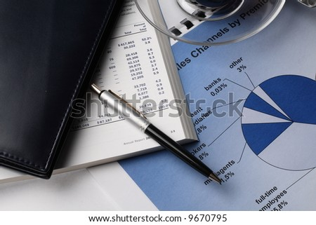 business still life with  financial reports - stock photo