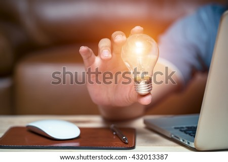 Business strategies for creative expression with a light bulb idea. - stock photo