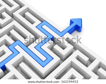 Business strategy and marketing concept. Blue arrow path across labyrinth. - stock photo