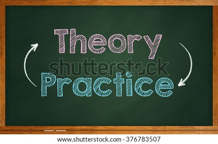 Business strategy concept of Theory and Practice written on chalkboard - stock photo