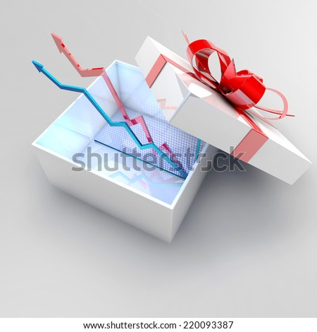 business strategy concept with bar charts in present box. - stock photo