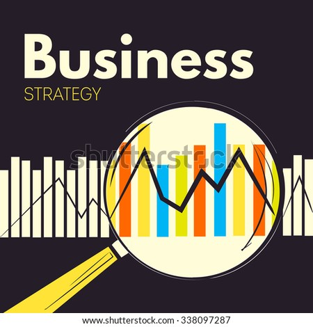 Business strategy. Creative background with magnifier, statistics  - stock photo