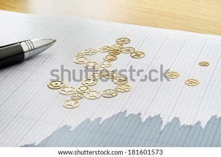 Business strategy. Dollar sign formed by clockworks - stock photo