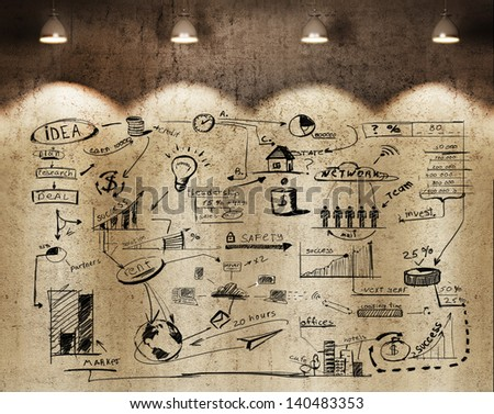 business strategy on the wall - stock photo