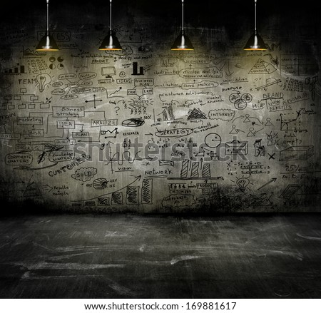business strategy on the wall with lamp - stock photo