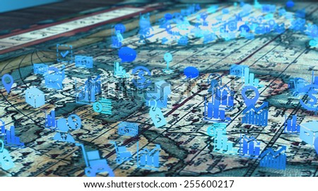 Business strategy planning concept of world map with finance and statistics related icons - stock photo