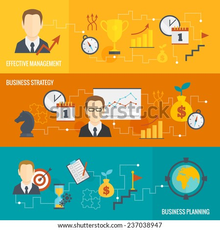 Business strategy planning effective management banner set isolated  illustration - stock photo