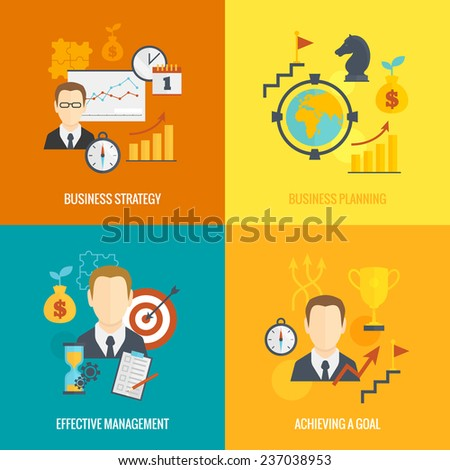 Business strategy planning icon flat set with effective management achieving a goal isolated  illustration - stock photo