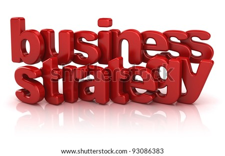 business strategy text 3d isolated over white background - stock photo
