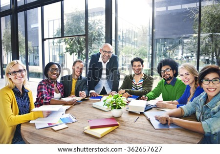 Business Students Team Studying University Concept - stock photo