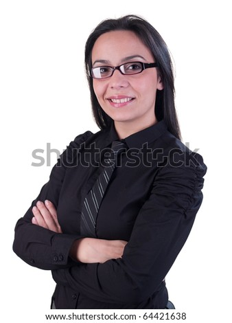 Business style portrait of female model, black hair and shirt. Isolated on white background - stock photo