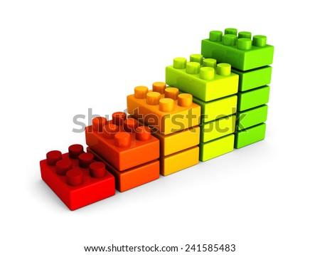 business success bar chart from building blocks. 3d render illustration - stock photo