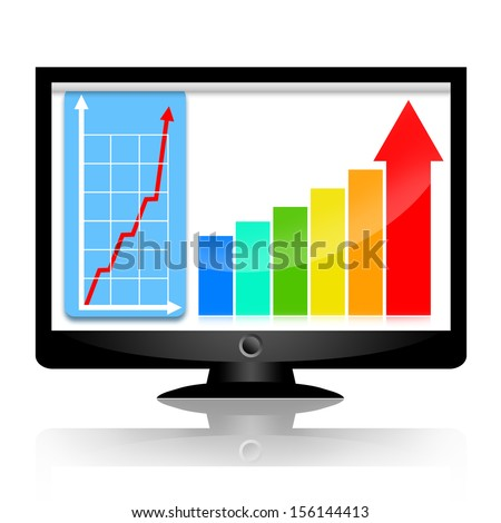 Business success charts with statistical graph and upward arrow on the computer monitor screen - stock photo