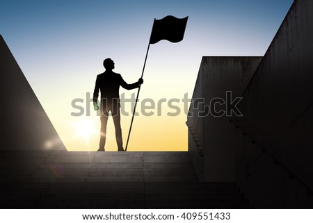 business, success, leadership, achievement and people concept - silhouette of businessman with flag standing on stairs over sun light background - stock photo