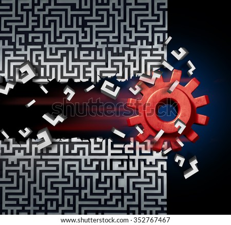 Business success solution concept as a machine gear or mechanical cog breaking through a maze or labyrinth as a metaphor for disruptive technology or ground breaking innovation. - stock photo