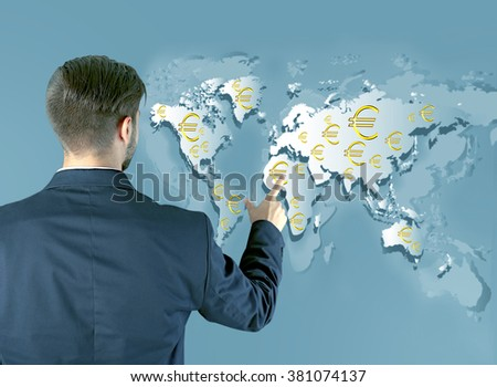 Business success strategy concept. Businessman in suit introduce something on world map background - stock photo