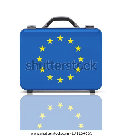 Business suitcase for travel with reflection and flag of Europe - clipping path - stock photo