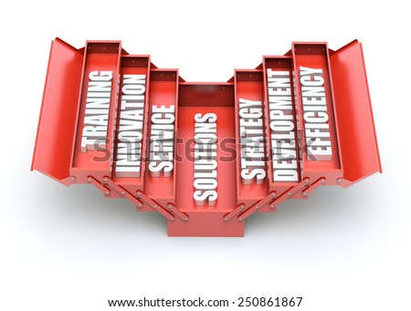 Business support concept with red toolbox - stock photo