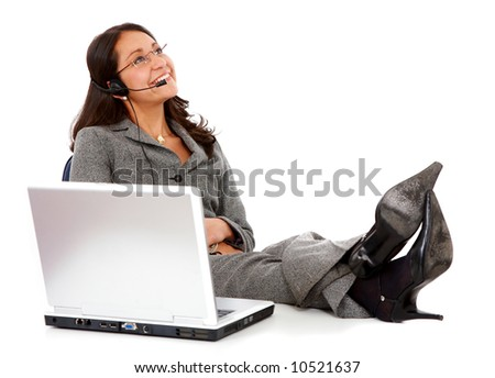business support woman on a break isolated over a white background - stock photo