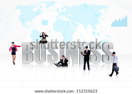 Business symbol of global business life with people surround it on world map background - stock photo