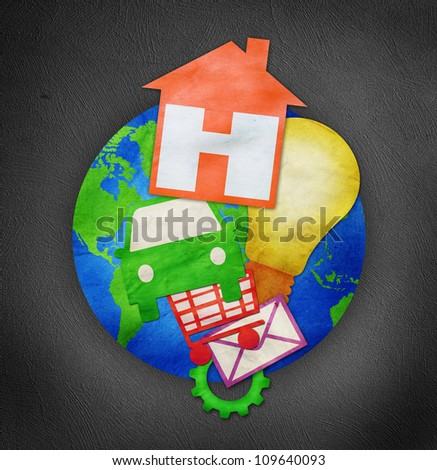 business symbol on earth - stock photo