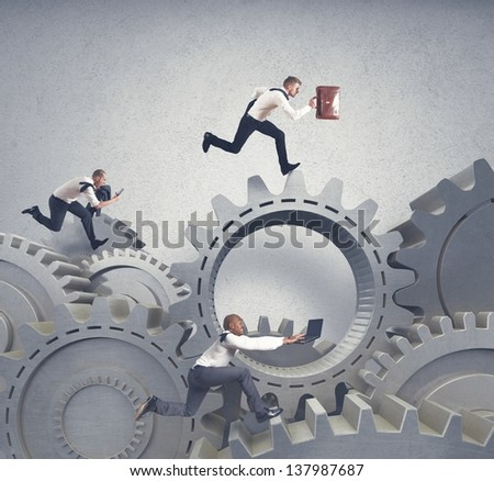 Business system with running businessman and competition concept - stock photo