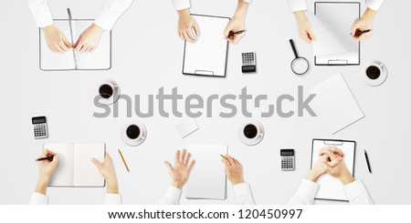 business table six person on  white background - stock photo