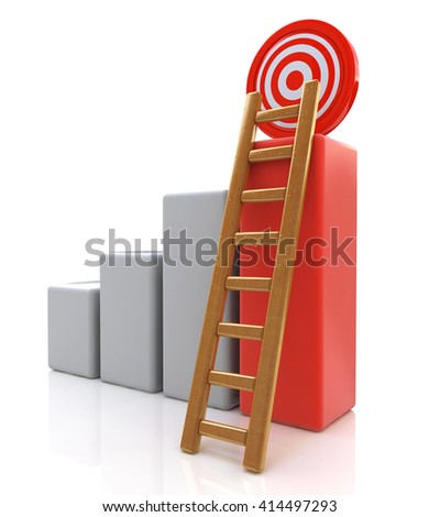 Business target concept , 3d business graph with wood ladder to the red target isolated over white background in the design of information related to successes - stock photo