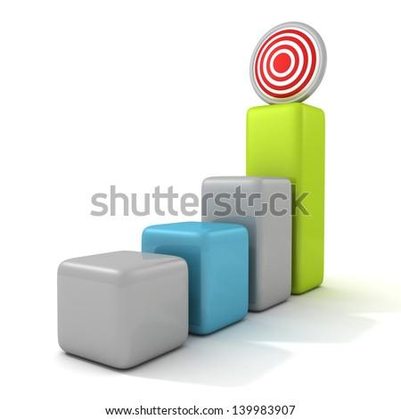 Business target marketing concept bar chart - stock photo