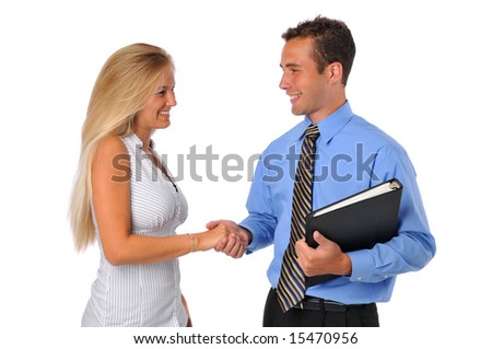 Business team a man and woman shake hands isolated on white - stock photo
