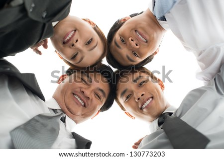 Business team below against a white background - stock photo
