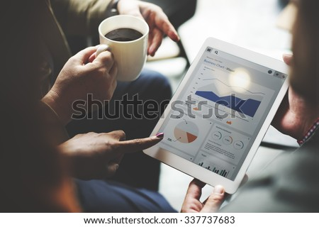 Business Team Brainstorming Data Target Financial Concept - stock photo