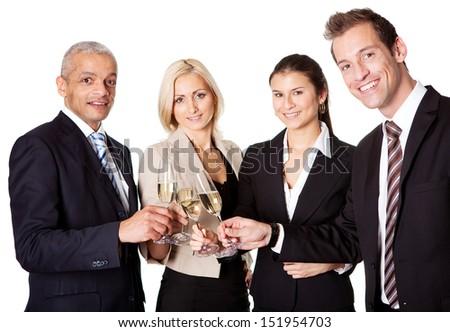 Business team celebrating success. Isolated on white - stock photo