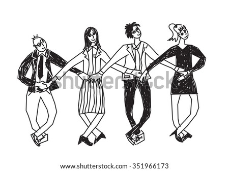 Business team dance presentation black and white. Group people dance in suits. Monochrome illustration.  - stock photo