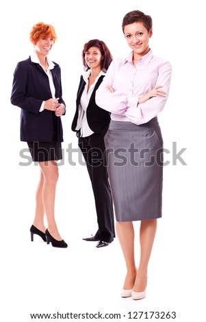 business team diversity happy isolated on white - stock photo