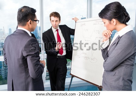 Business team drafting in strategy meeting - stock photo