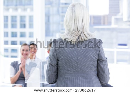 business team during a meeting in the office - stock photo