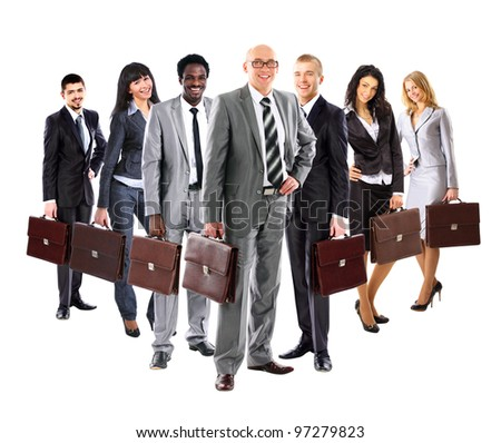 Business team formed of young business men and business women standing with suitcase over a white background - stock photo