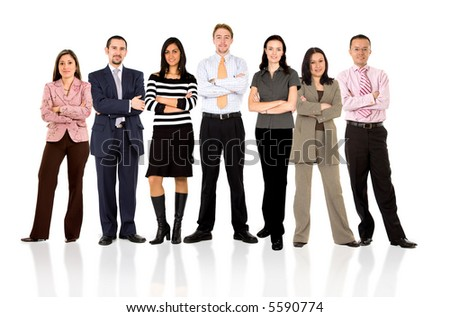 business team formed of young businessmen and businesswomen standing over a white background with reflections - stock photo
