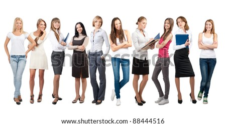 Business team formed of young businesswomen standing in different poses, over a white background - stock photo