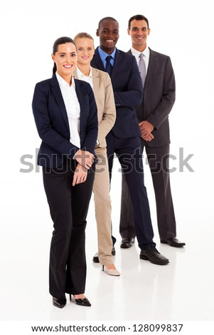 business team full length portrait on white - stock photo