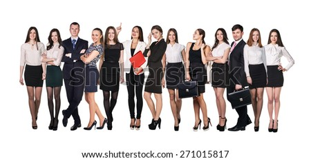 Business team. Group of people isolated on white background - stock photo