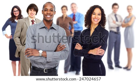 Business team. Group of workers people isolated white background - stock photo