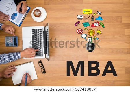 Business team hands at work with financial reports and a laptop, Talking Communication MBA Concept top view - stock photo