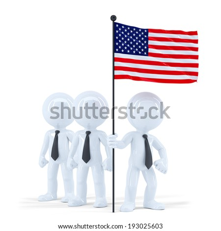 Business team holding flag of USA. Isolated. Contains clipping path - stock photo