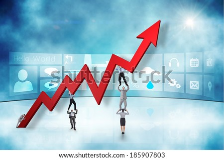 Business team holding up arrow against application interface - stock photo