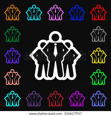 business team icon sign. Lots of colorful symbols for your design. illustration - stock photo