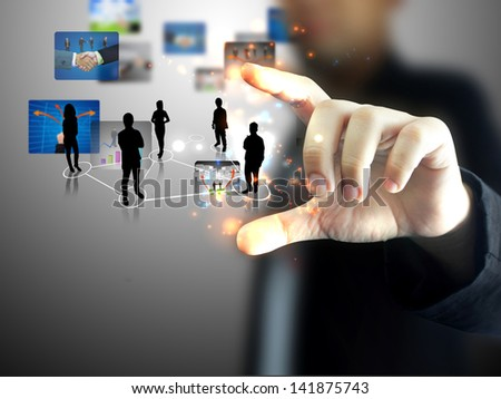 Business team in hand - stock photo