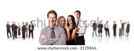 business team is happy and smiling about the bright future - stock photo