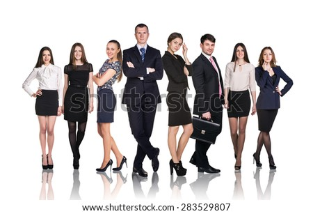 Business team isolated on white with reflection - stock photo